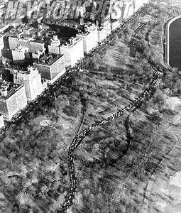 Traffic through Central Park due to the NYC Transit Strike. 1966