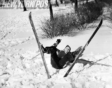 Irma Lowenstein Falls In The Snow While Skiing In Central Park. 1940.