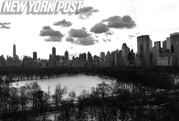 Aerial SHot of New York's Central Park on a Snowy Winter Day. 1994