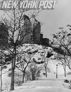 BEAUTIFUL Winter View Of Building Seen From NYC Central Park. 1938