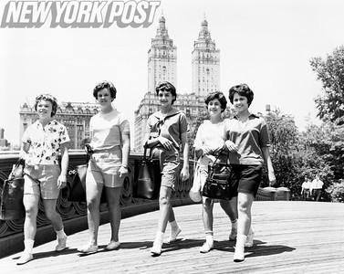 Lovely Ladies Confer On Board Walk At Central Park. 1962