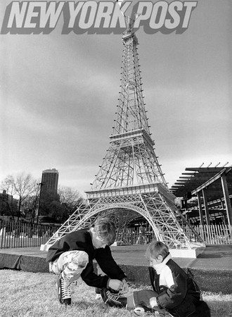 Youngsters Play By Replica Of Eiffel Tower At NYC CENTRAL PARK. 1991