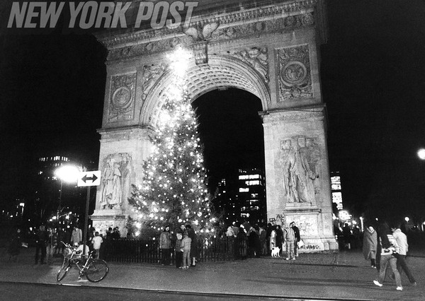 Christmas Carols at Washington Square Arch in Manhattan. 1979