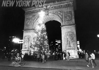 Christmas Carols at Washington Square Arch in Manhattan. 1979