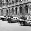 A brand new New York City Accident Investigation Squad in 1956 is inspected by Mayor Robert F Wagner and Commissioner Stephen Kennedy