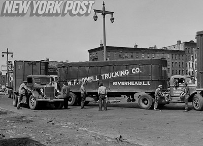 Striking Teamsters stop truck shipments on the New Jersey side of the Holland Tunnel. 1946