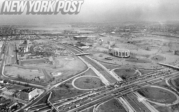 Aerial photo of Flushing Meadows Corona Park. 1968