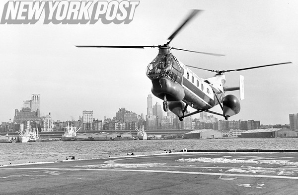 New York City Port Authority Helicopter approaches landing. 1962