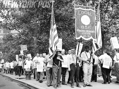 Local 856 Longshoremen picket city hall wanting piers built on Hudson River. 1967