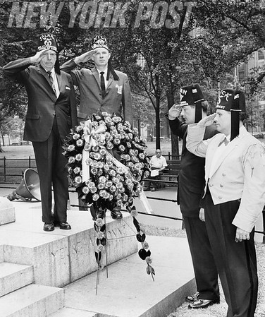 Shriners place a memorial on War veteran memorial in Madison Square Park. 1961