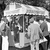 Horn and Hardart Mobile Food Cart In Bryant Park As Customers Line Up For Coffee. 1966.