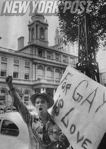Gay Rights supporter pickets in front of New York City Hall. 1975