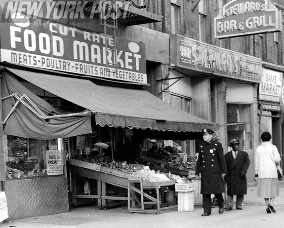 Street View of Harlem Supermarkets after raid. 1959