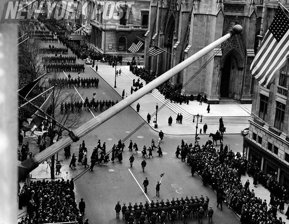 1939 Street Scene of the St. Patrick's Day Parade in New York City. 1939