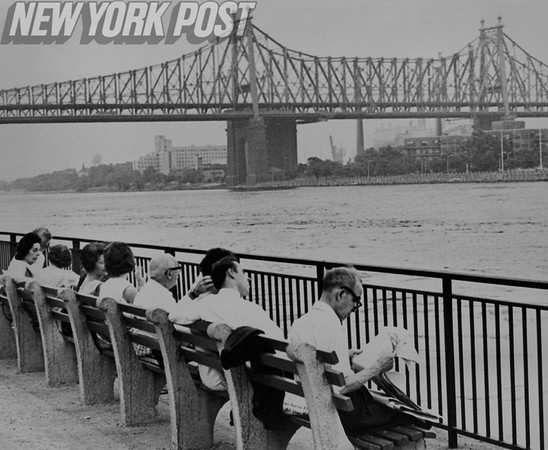 New York residents beat the heat by enjoying the cool breeze off of the East River.