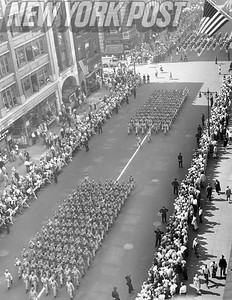 Aerial view of parade from Empire State Building. 1952