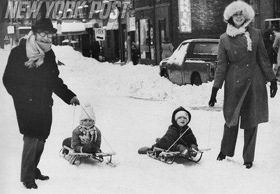 Snow Day in Manhattan...Adults and children enjoy the the snow. 1978