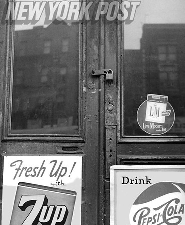 Harlem Store doors are locked by Police after Gambling Raid. 1959