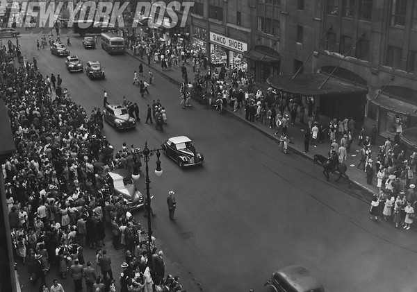 Aerial of the Tugboat Strike of New York City on 34th street. 1946