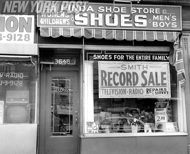 Harlem Storefront that was raided by police in connection with gangster activity. 1959