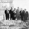 Official Confer Over Proposed Battery Park City Model in Downtown Manhattan. 1968.