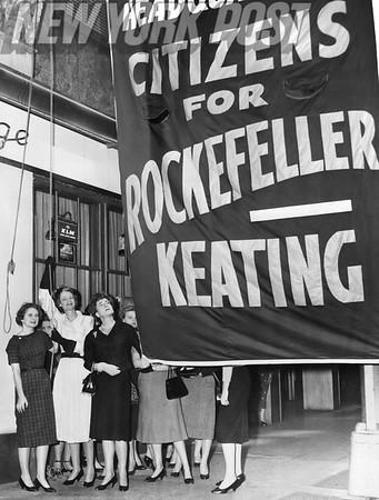Flag raising ceremony for Rockefeller/Keating at Belmont Plaza Hotel. 1958