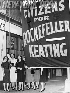Flag raising ceremony for Rockefeller/Keating at Belmont Plaza Hotel. 1958
