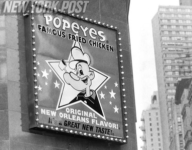 1980's advertisement sign for Popeyes Chicken in New York City. 1980