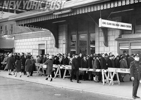 NYC Transit Subway Strike leaves patrons in extreme lines at the Long Island Rail Road, Jamaica Station. 1957