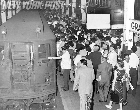 NYC crowd at the shuttle in Grand Central Station. 1956