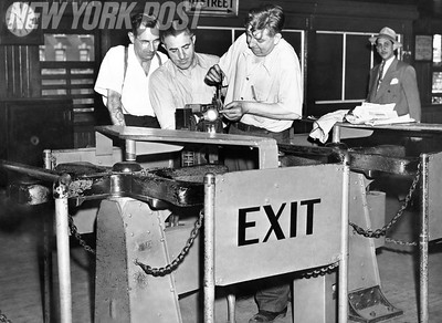 Turnstiles are readied for the new 10 cent fare for a subway ride in NYC. 1948