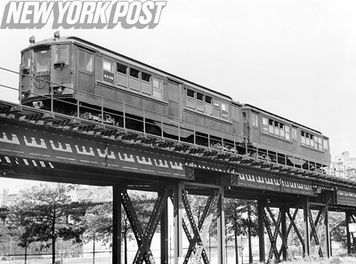 Elevated train in uptown NYC. 1958