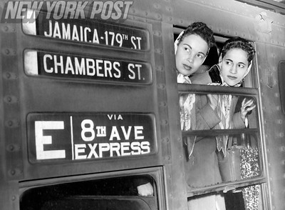 New York City Transit Strikes leave subway train riders stranded at the Hudson Terminal on the 8th Ave Express train. 1957