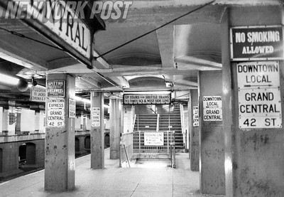 New York City Transit Strikes leaves Grand Central Station bare. 1980