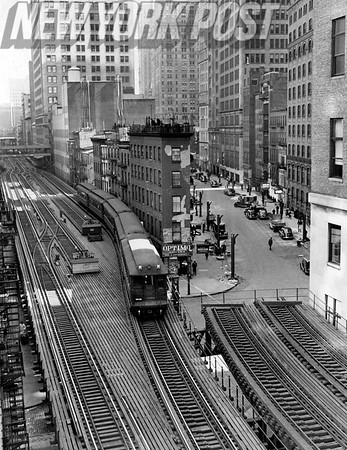 "Juncture of 6th & 9th Ave ""El""s at Morris St. Trinity Place. April 10, 1939"