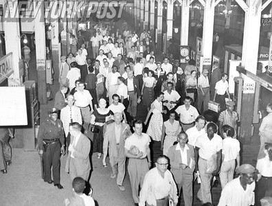 NYC Transit Subway Stations- A view of the crowd at Grand Central Station. 1956