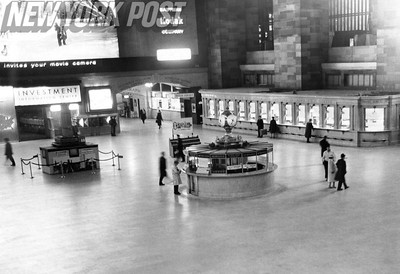 Main lobby of Grand Central Station during the NYC Transit strike 1961 by Barney Stein