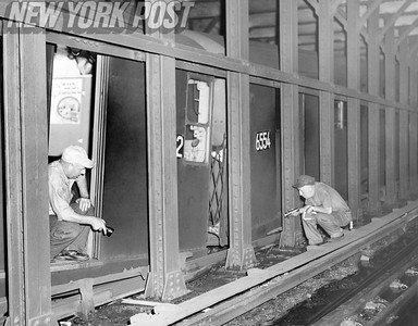 Repair crew on the subway at Astor Place Station. 1956