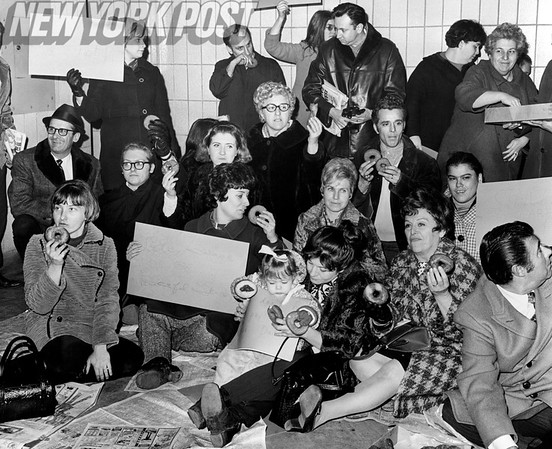 Protesters of the double fare at the Far Rockaway Elevated Subway Station. 1978