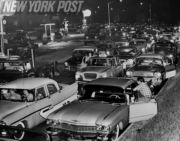Traffic Jam in front of Gulf Station in Queens. 1960
