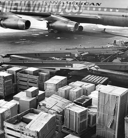 Pan American plane lies idle at John F. Kennedy Airport. 1965