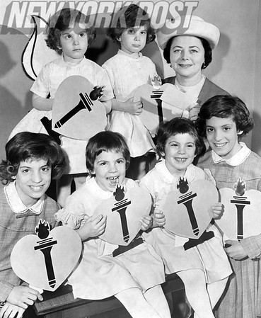 These 3 sets of twins present a donation to the 1962 Heart Association Fund on behalf of the Queens Mothers of Twins Club