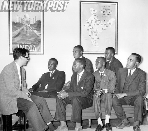Sit down students meet with CORE director at Long Island City Apartment complex. 1961