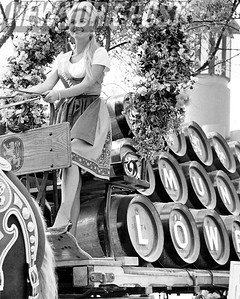 Miss Universe, Marlene Schmidt, atop the Lowenbrau Beer wagon at the 1964 World's Fair.