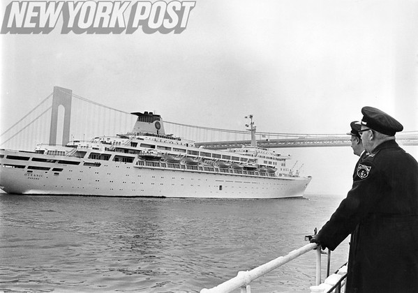 Liner Coming Into Harbor As Customs Men Watch. 1966.