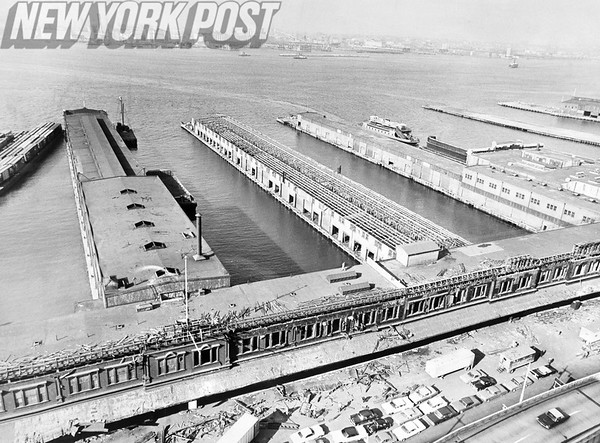 New York City Piers are demolished to make way for the building of the World Trade Center January 1967.