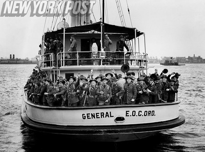 New York State National Guardsmen ferry across a New York waterway. 1940