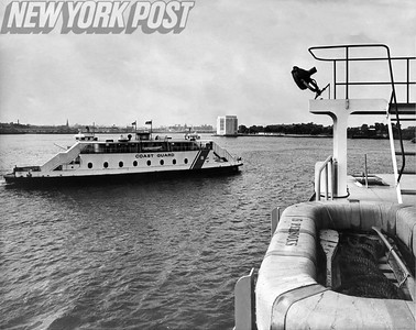 U.S. Coast Guard Boat On Way To Governors Island As Seen From Ferryboat. 1969.