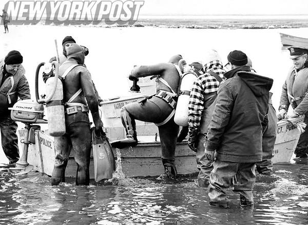 Frogmen Prepare To Board Police Motor Boat. 1962.
