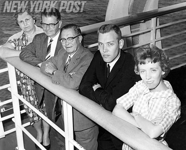 Five Survivors Of Tourist Bus Tragedy In Switzerland Arrive Aboard The United State. 1961.